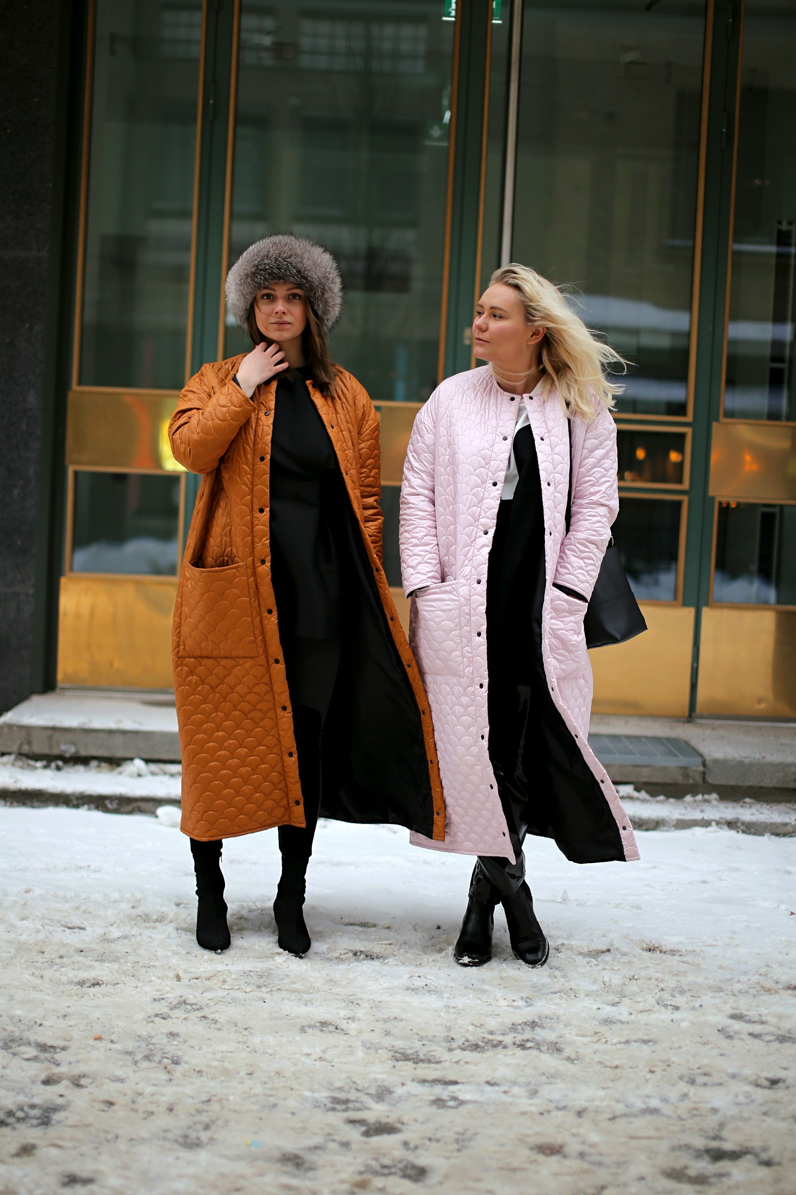 R/H Bobi Long Coat, Soft Ice Pink & Mustard Gold