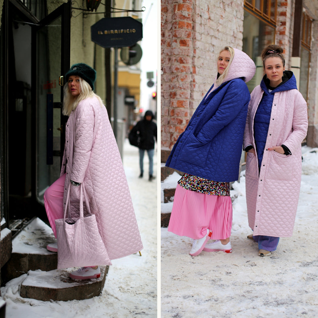 R/H Bobi Coat & Long Coat, Soft Ice Pink & Electro Blue