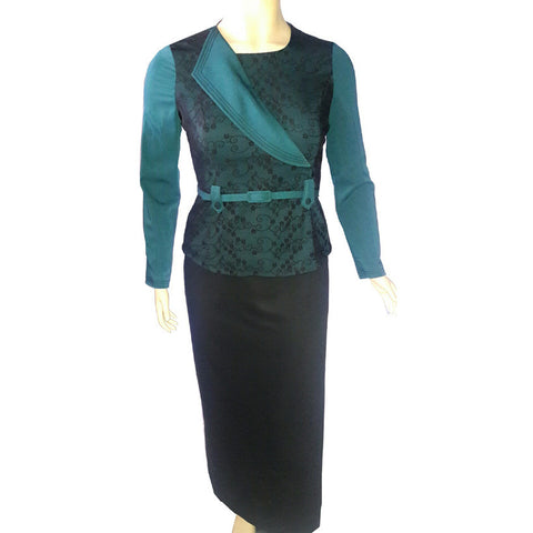 Black skirt with Green Jacket long skirt suit