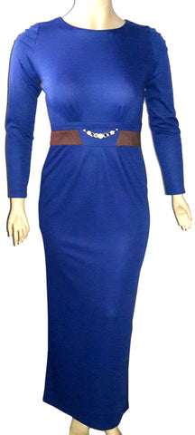 Long rizgar blue gown brown formal dress