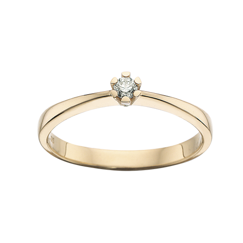 ring vida guld 8kt med diamant brillant solitair scrouples
