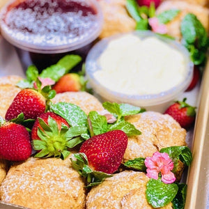 Scone platter with strawberry jam, cream & fresh strawberries - Rosalie Gourmet Market