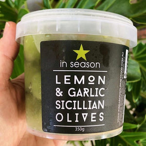 In Season - Lemon & Garlic Sicilian Olives 350g - Rosalie Gourmet Market