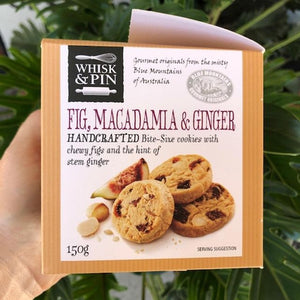 Whisk & Pin - Fig, Macadamia & Ginger Bite Size Cookies 150g - Rosalie Gourmet Market