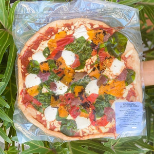 Gluten Free Pizza (topped & ready to cook) - Roasted Vegetables, Olives & Fior Di Latte - Rosalie Gourmet Market