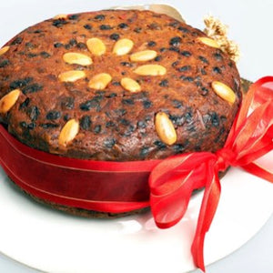 Gluten Free Traditional Christmas Cake decorated with almonds - Rosalie Gourmet Market