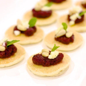 Blinis (Mini Pancakes)-Catering-Rosalie Gourmet Market-Beetroot, goats cheese & mint (V)-Rosalie Gourmet Market