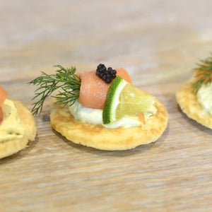 Blinis (Mini Pancakes)-Catering-Rosalie Gourmet Market-Smoked salmon & cream cheese with dill-Rosalie Gourmet Market