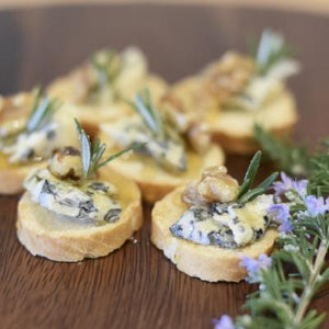 Crostini / Melba Toasts-Catering-Rosalie Gourmet Market-Blue cheese with walnut, honey & rosemary (V)-Rosalie Gourmet Market