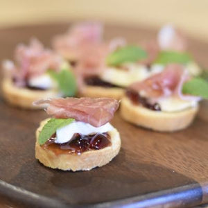 Crostini / Melba Toasts-Catering-Rosalie Gourmet Market-Brie, prosciutto & red currant jelly with mint-Rosalie Gourmet Market