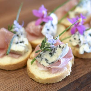 Crostini / Melba Toasts-Catering-Rosalie Gourmet Market-Prosciutto, blue cheese & chive-Rosalie Gourmet Market