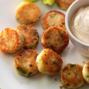 Mini Potato / Risotto Cakes-Catering-Rosalie Gourmet Market-Pink salmon potato cakes served with dill & parsley mayonnaise-Rosalie Gourmet Market