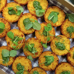 Mini Potato / Risotto Cakes-Catering-Rosalie Gourmet Market-Pumpkin & sage risotto cakes served with spicy tomato chutney (V)-Rosalie Gourmet Market