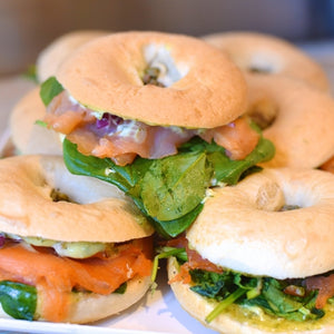 Smoked Salmon Bagel with Baby Capers, Cream Cheese & Chives-Catering-Rosalie Gourmet Market-Rosalie Gourmet Market