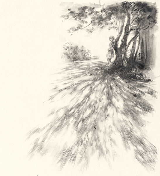 Waiting beneath the chestnut trees, illustration for The Ocean at the End of the Lane by Neil Gaiman (pen)