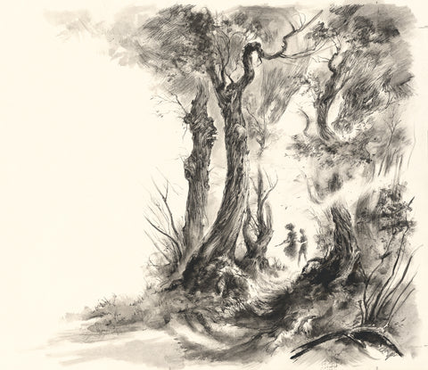 Following the hazel wand, illustration from The Ocean at the End of the Lane (pen)