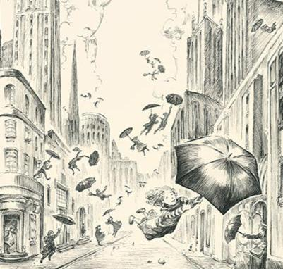 Where the wind takes you high, illustration for Imagine a City (pen)