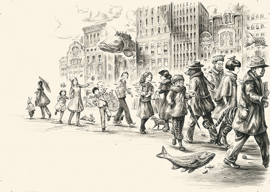 Fish walking, illustration from Imagine A City (pen)