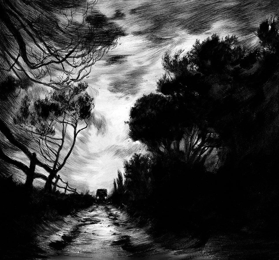 Night drive - illustration for The Ocean at the End of the Road by Neil Gaiman (Headline, 2019)