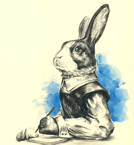 Authorial rabbit (pen and watercolour)