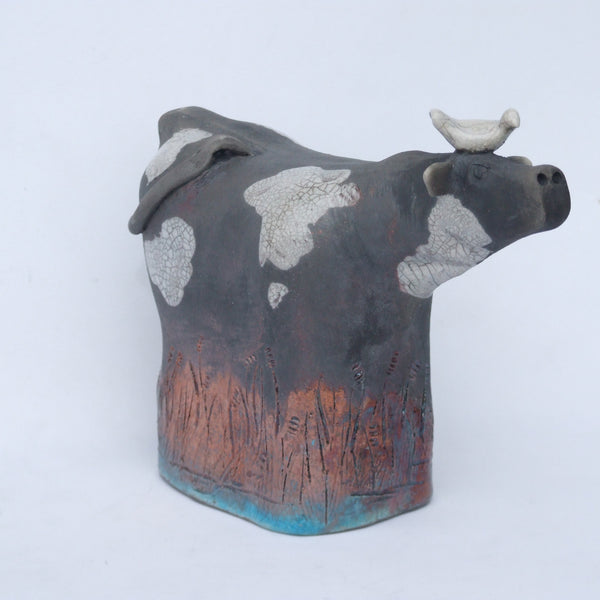 Raku Cow with White Bird