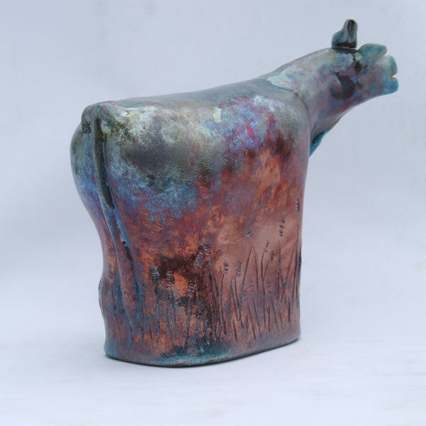 Raku Cow with Blue Bird