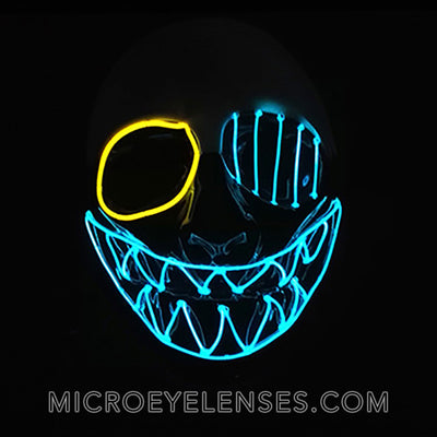 Micro® Eye Circle Lens One-Eyed Sawtooth LED Light Up Mask-Clear Blue B01260