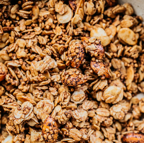 Crunch and slurp your way through our new Coffee Almond & Macadamia Granola