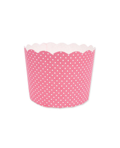 Mini Paper Baking Patty Cups (Pack 50) - Pink + White Spots