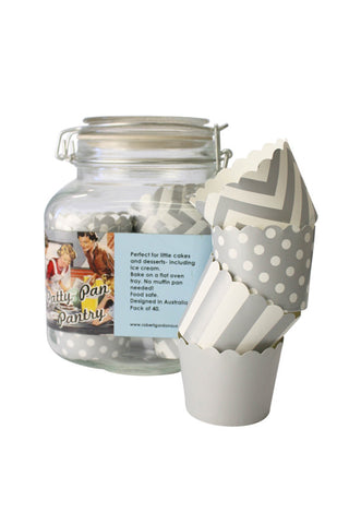 GLASS JAR + 40 Patty Cups - Silver