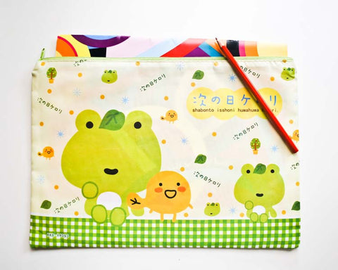 Green Frog Document / Pencil Case - Large