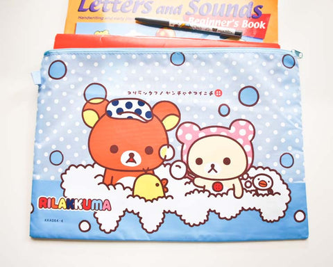 Rilakkuma in Bath Document / Pencil Case - Large