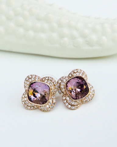 Stylish Flower Pierced Earrings with Swarovski Elements