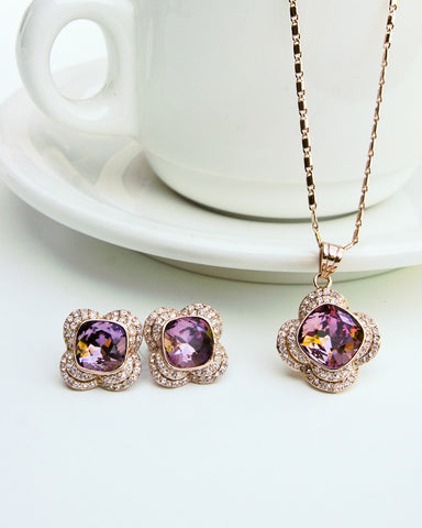 Stylish Flower Pendant Necklace + Earrings Set with Swarovski Elements