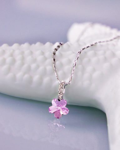 Violet Flower Mini Pendant Necklace with Swarovski Elements