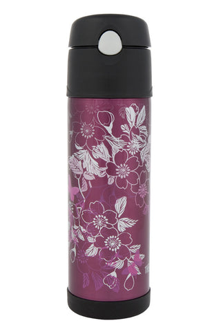 Thermos 530mL St/Steel Vacuum Insulated Hydration Bottle - Floral Majenta