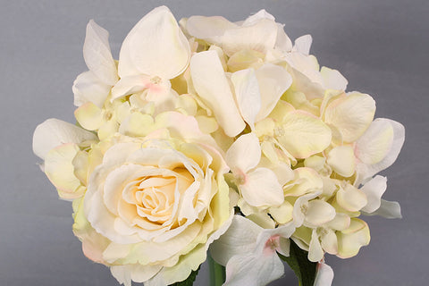 Hydrangea + Rose Flower Bouquet - White