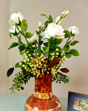 Rose Flower Bouquet with Berries- White
