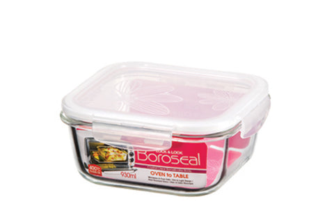 Lock & Lock Boroseal Square Oven-Safe Glass Container 930ML