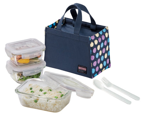 Lock & Lock Boroseal Glass Lunchbox Set (Grey)