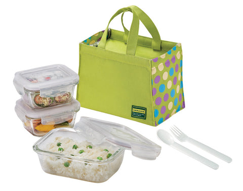 Lock & Lock Boroseal Glass Lunchbox Set (Green)