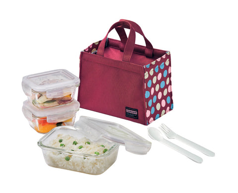 Lock & Lock Boroseal Glass Lunchbox Set (Wine)