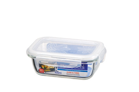 Lock & Lock Boroseal Rectangular Oven-Safe Glass Container 430ML