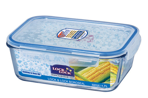 Lock & Lock Boroseal Rectangular Oven-Safe Glass Container 1.7L