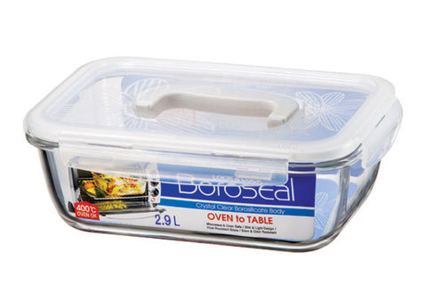 Lock & Lock Boroseal Rectangular Oven-Safe Glass Container 2.9L W/Handle