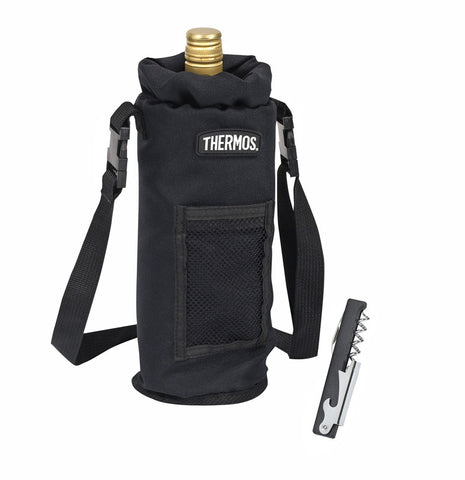 Thermos Insulated Single Wine Bottle Carrier with Bottle opener/cork screw - Black