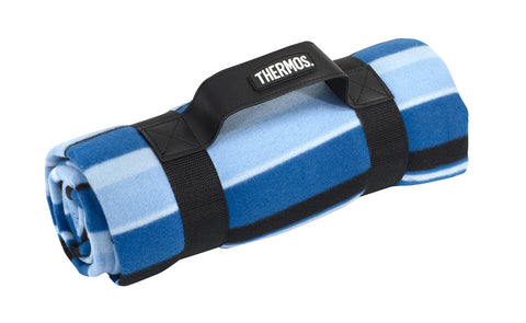 Thermos Picnic Rug W/Waterproof Backing - Blue Stripe