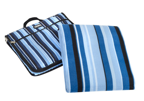 Thermos Picnic Rug/Cushion  W/Waterproof Backing - in Carry Case- Blue Stripe