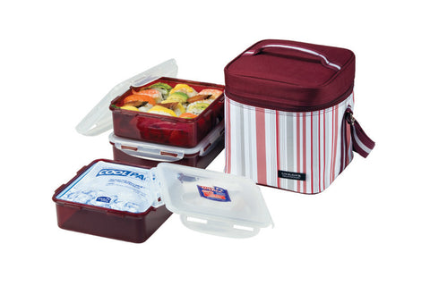 Lock & Lock 3PCS Lunch Set W/Ice Pack & Insulated Bag (Wine Stripe)