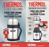 Thermos 800mL St/Steel Vacuum Insulated Food & Drink Flask